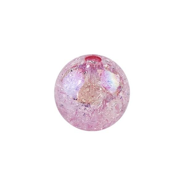 Perlen, Crackle, Ø 6mm, rosa-irisierend, 150 Stk.