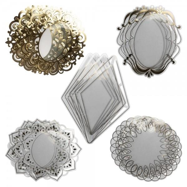 Windradfolien-Scheiben, Gold & Stanzornamentik, versch. Designs, 500µ, transparent, 20 Stück