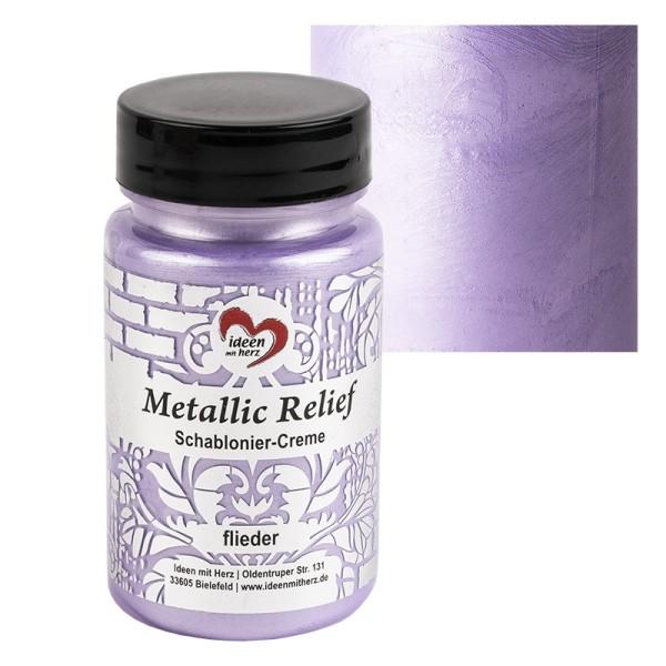 Metallic Relief, Schablonier-Creme, flieder, 90ml