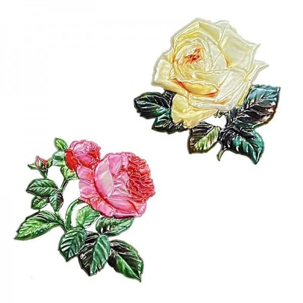 Wachsornamente, Rosen, 2 Stück
