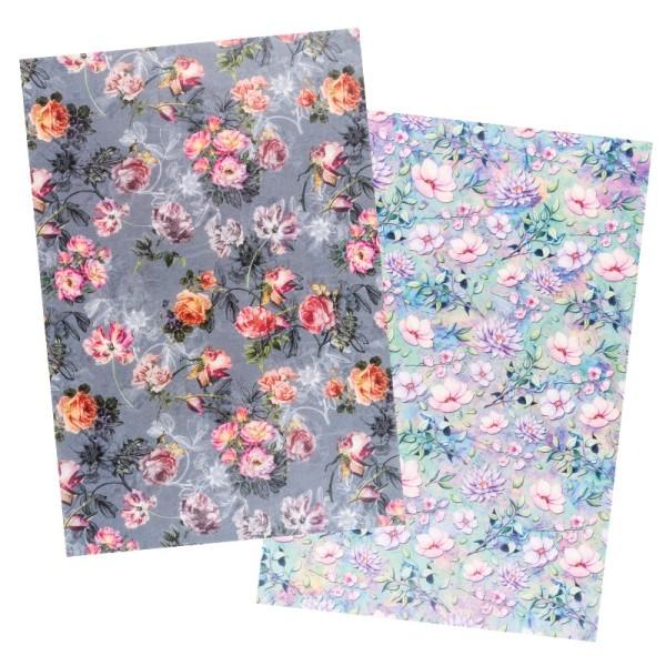 Reispapiere, Blüten 15, DIN A4, 30g/m², 2 verschiedene Designs