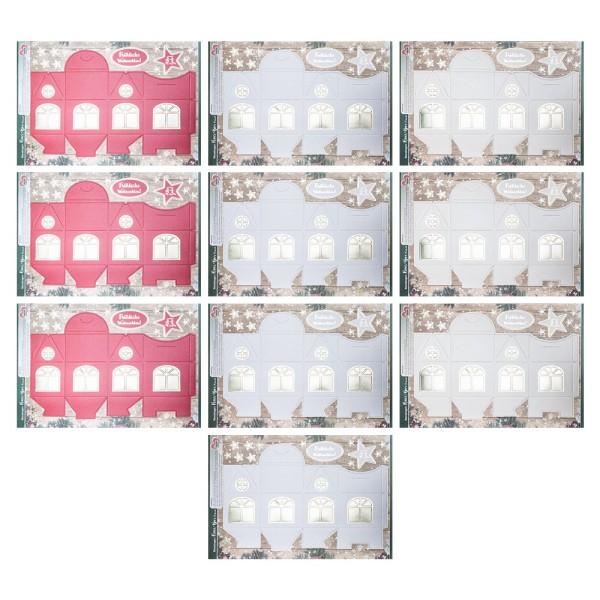 Stanzbogen, Haus-Box, DIN A4, 250 g/m², 3 verschiedene Farben, goldene Folienveredelung, 10 Bogen