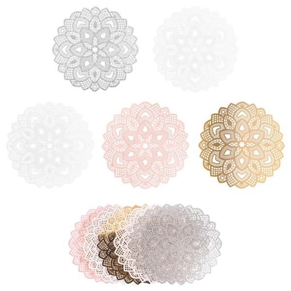 XL-Laser-Ornamente, Zierdeckchen 2, verschiedene Farben, Ø 20cm, 10 Stück