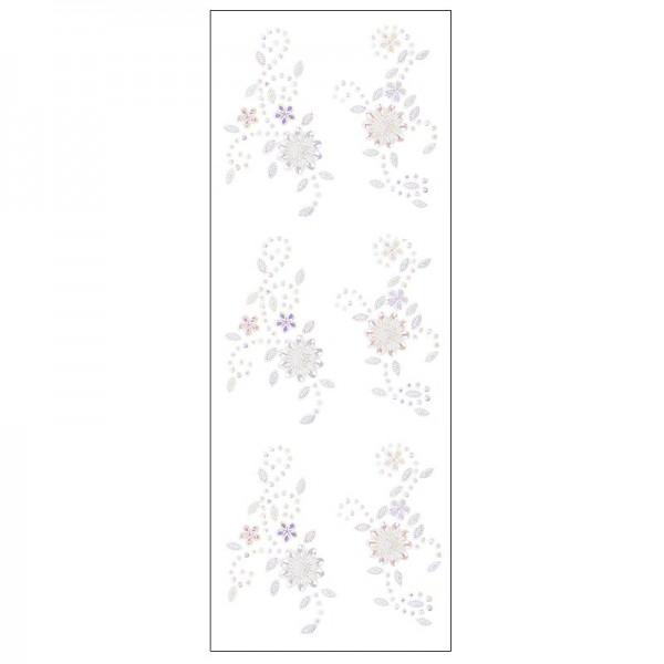 Kristallkunst, Blumenornament, selbstklebend, 10cm x 30cm, weiß irisierend