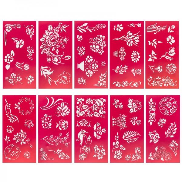 Schablonen, 10 x 20 cm, Design 4, 10er Set