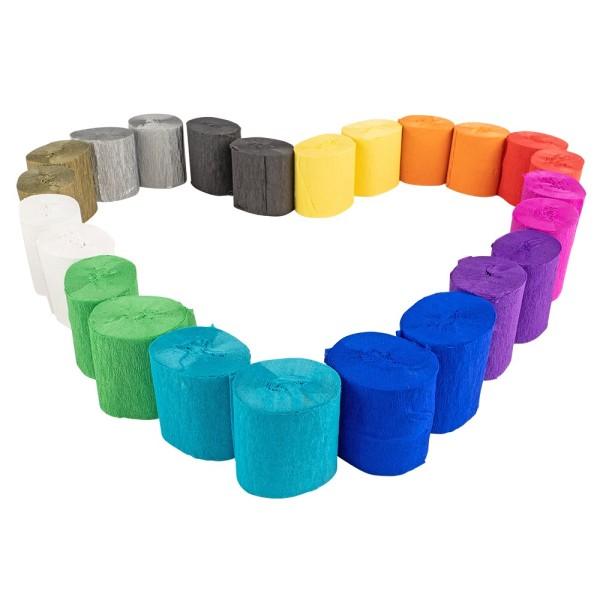 Krepp-Bänder, 5cm breit, 10m lang, 17g/m², verschiedene Farben, 24 Rollen