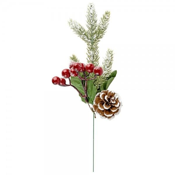 Deko-Tannenzweig, Rote Beeren, 20cm lang, mit roten Beeren & Tannenzapfen