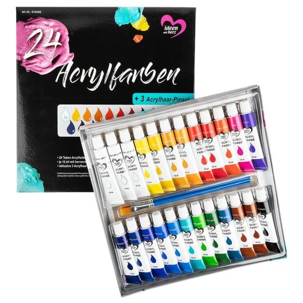 Acrylfarben + 3 Acrylhaar-Pinsel, in Künstlerqualität, à 12ml, hervorragender Deckkraft, 24 Tuben