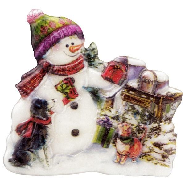 Wachsornament Schneemänner 1, farbig, geprägt, 7cm