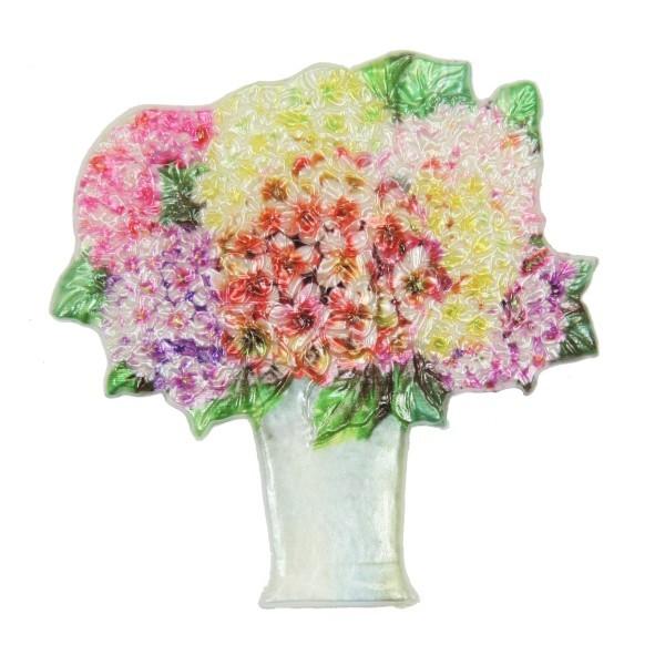 Wachsornament Blumenbouquet 6, farbig, geprägt, 7,5 x 7,5 cm