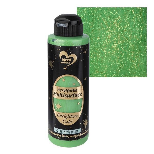 "Acrylfarbe ""Multisurface"", Edelglitzer Gold, dunkelgrün, 180ml"