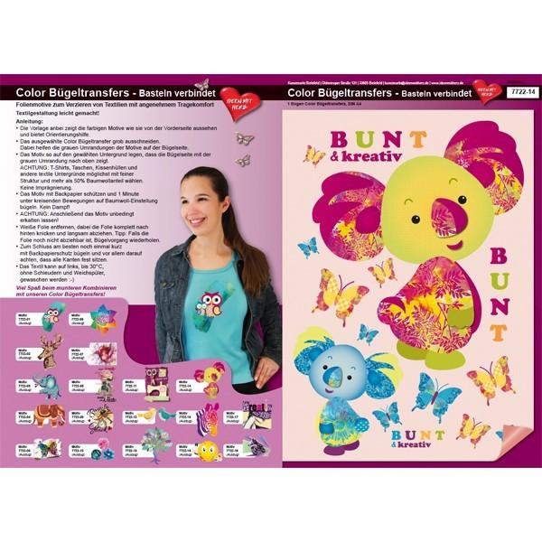 Color Bügeltransfers, DIN A4, Bastelspruch, Koalabären