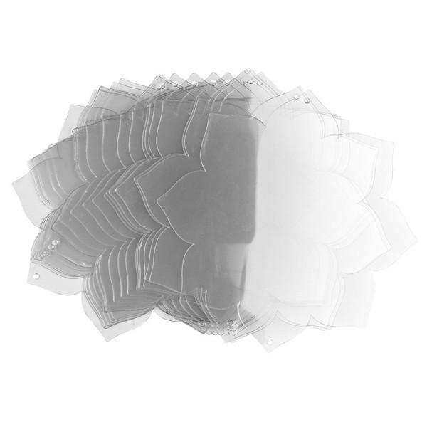 Windradfolien-Scheiben, Blume 2, 16cm x 16cm, transparent, 500µ, 20 Stück