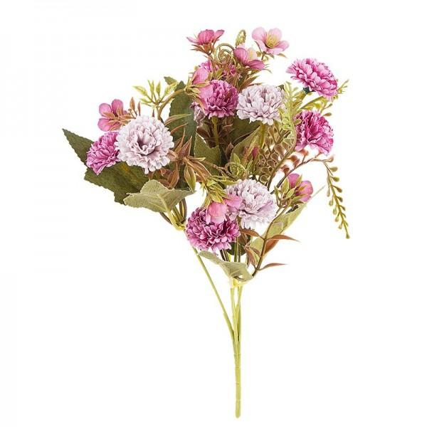 Blütenbusch, Mini-Hortensien, 28cm hoch, 10 große Blüten Ø 3cm, Violetttöne