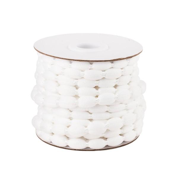 Pompon-Band, Ø 1cm, 10m, auf Rolle, weiß