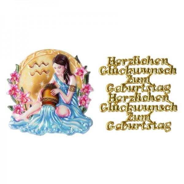 Wachsornamente, Sternzeichen Wassermann & Herzlichen Glückwunsch, 2 Stück