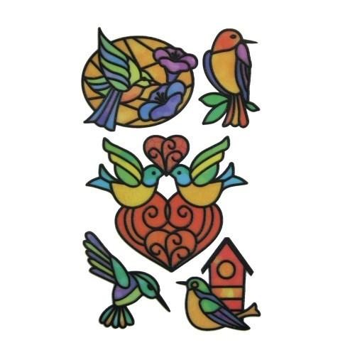 Glas-Design-Stickerbogen, 15 x 9 cm, Vögel