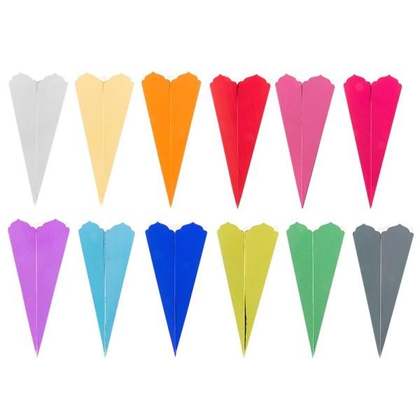 Schultüten, Zierkante, 14cm hoch, Ø 6cm, Spiegel-Karton, verschiedene Farben, 12 Stück