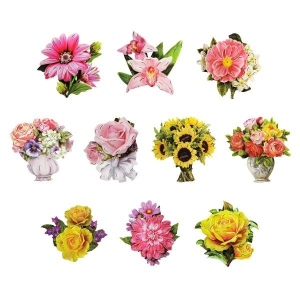 3-D Motive, Blumen, Gold-Gravur, 7-8,5cm, 10 Motive