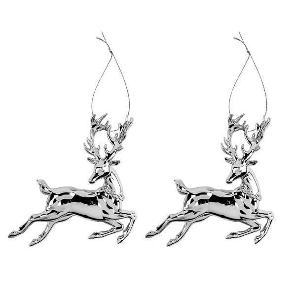 Deko-Hirsche, Design 2, 12,5cm x 13cm, silber-metallic, 2 Stück