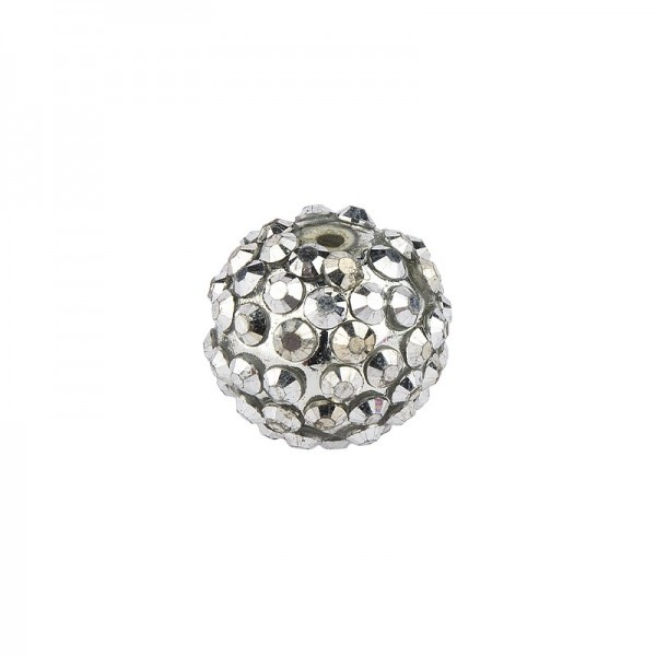 Kristall-Perlen, Ø14 mm, 10 Stück, silber-irisierend