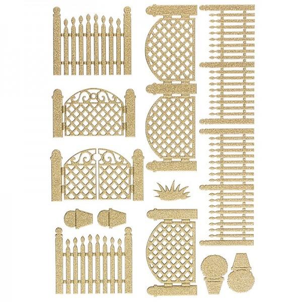 """3-D Sticker """"Deluxe Zäune & Tore"""", verschiedene Größen, selbstklebend, gold"""