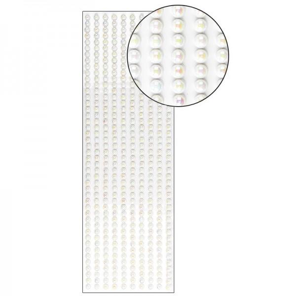 Halbperlen-Bordüren, selbstklebend, Ø6mm, 29cm, 10 Stück, weiß-irisierend