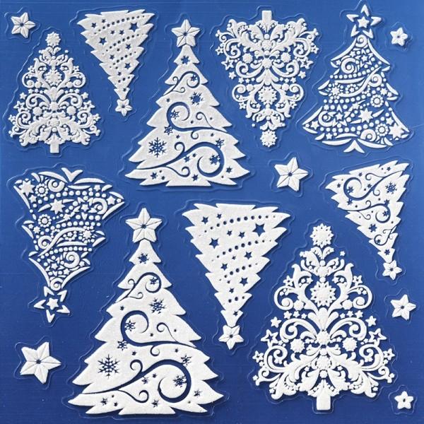 Laserglimmer-Sticker, Weihnachtsbäume, 18x18 cm, weiß