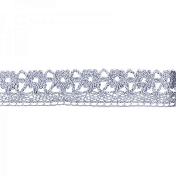 Häkelspitze Design 7, 2cm breit, 2m lang, blaugrau