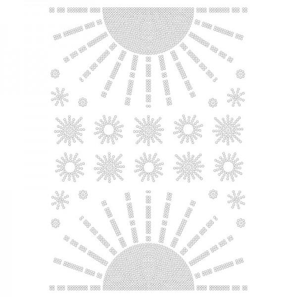 Bügelstrass-Design, DIN A4, klar, Sonnen 2