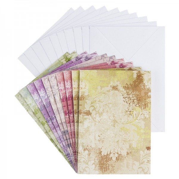 Motiv-Grußkarten, Ornamentik 2, B6, 5 versch. Farbtöne, inkl. Umschläge, 10 Stück