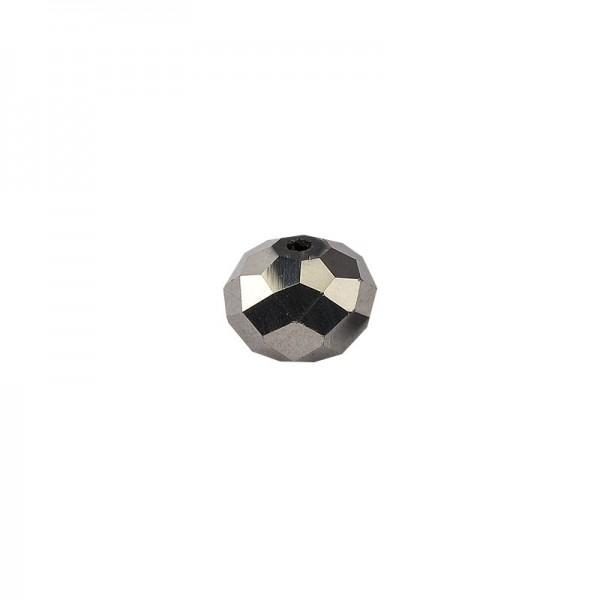 Glasschliff-Perlen, 0,8cm x 0,6cm, anthrazit, 20 Stück