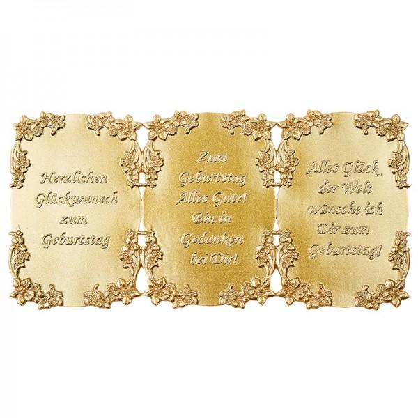 Wachsplatte, Wachsornamente, geprägt, 10 x 20 cm, gold, Sprüche zum Geburtstag