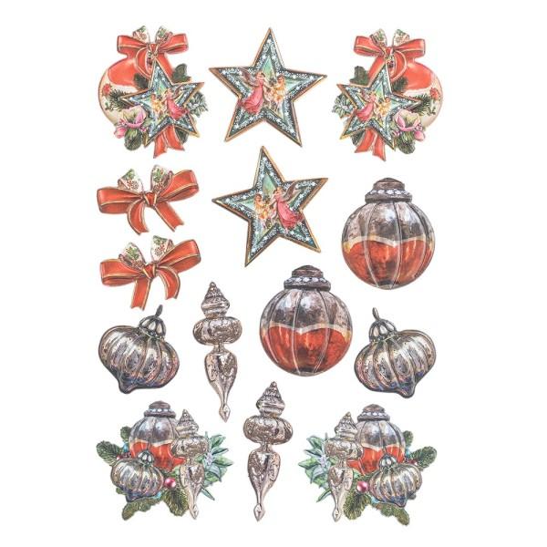 3-D Relief-Sticker, Weihnachts-Baumschmuck 1, verschiedene Größen, selbstklebend