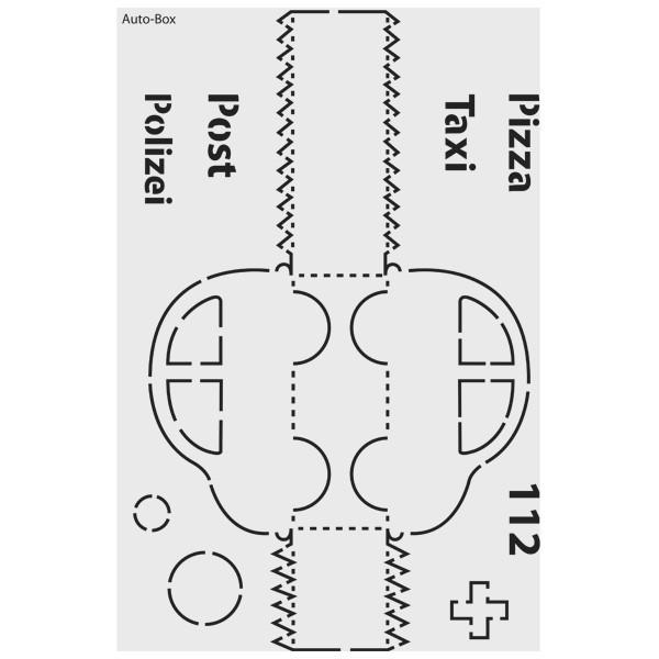 """Design-Schablone Nr. 9 """"Auto-Box"""", DIN A4"""