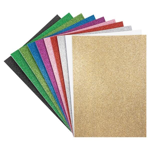 Moosgummi, selbstklebend, Glitzer 5, DIN A4, 2mm, verschiedene Farben, 10 Bogen