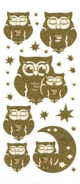 Microglitter-Sticker Eulen & Sterne, gold