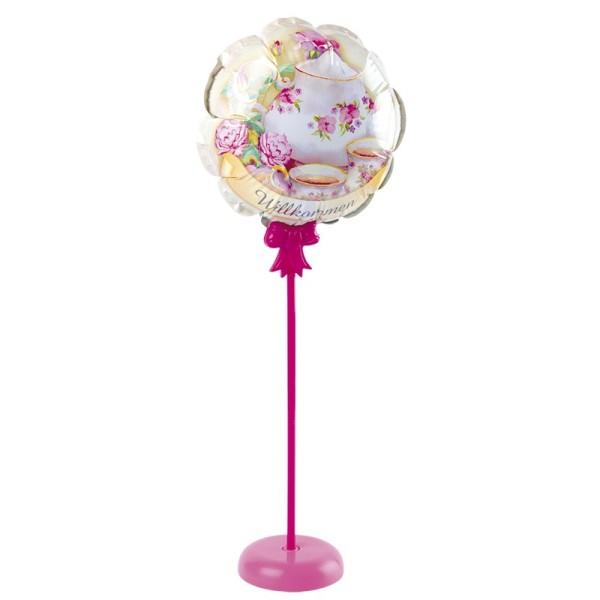 Zauber-Ballon mit Stab & Podest, Ø 11,5 cm, 31,5 cm hoch, Willkommen
