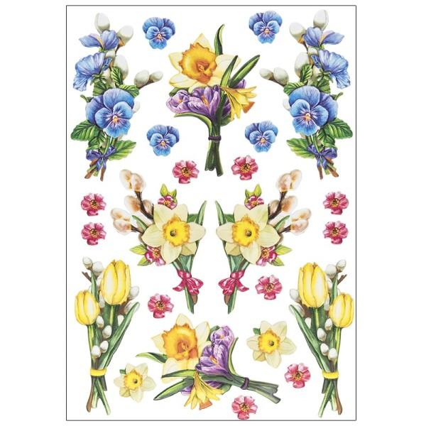 3-D Relief-Sticker, Blumensträußchen 2, verschiedene Größen, selbstklebend