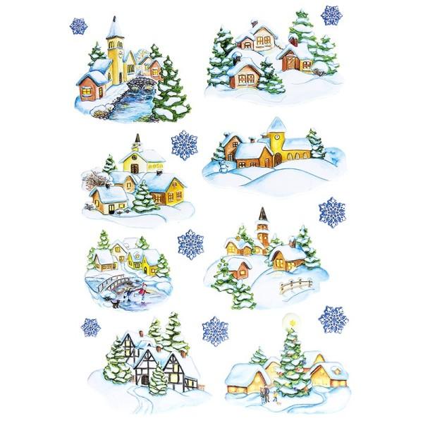3-D Relief-Sticker, Winterdörfer, verschiedene Größen, selbstklebend