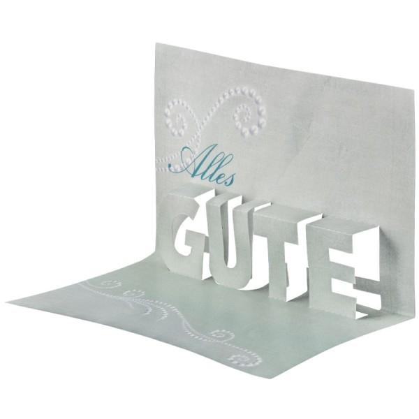 """Pop-Up-Grußkarten-Einleger, 11 x 16 cm, """"Alles Gute"""", türkis"""