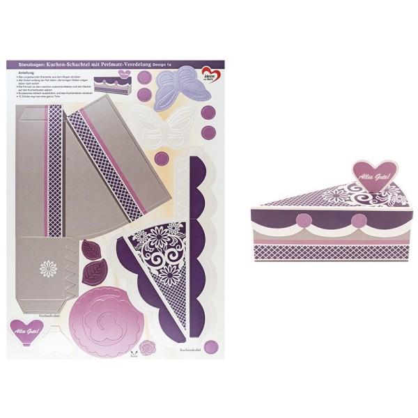 Stanzbogen, Kuchen-Schachteln, Design 1a, DIN A4, 12 Stück