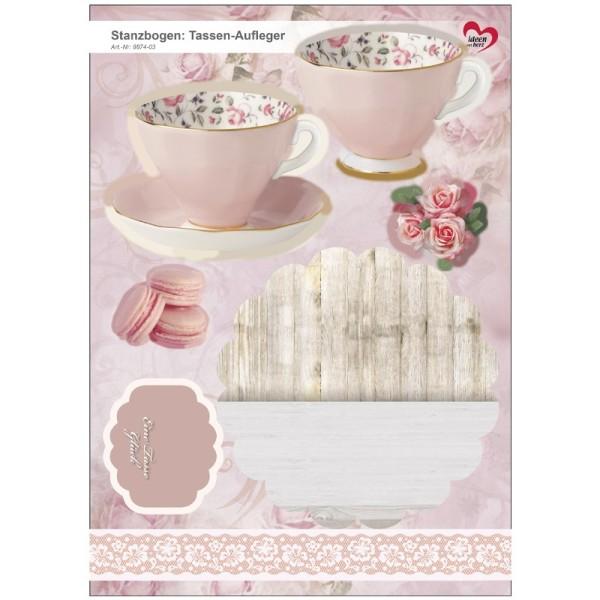 Stanzbogen, Tassen-Aufleger, DIN A4, alt-rosa