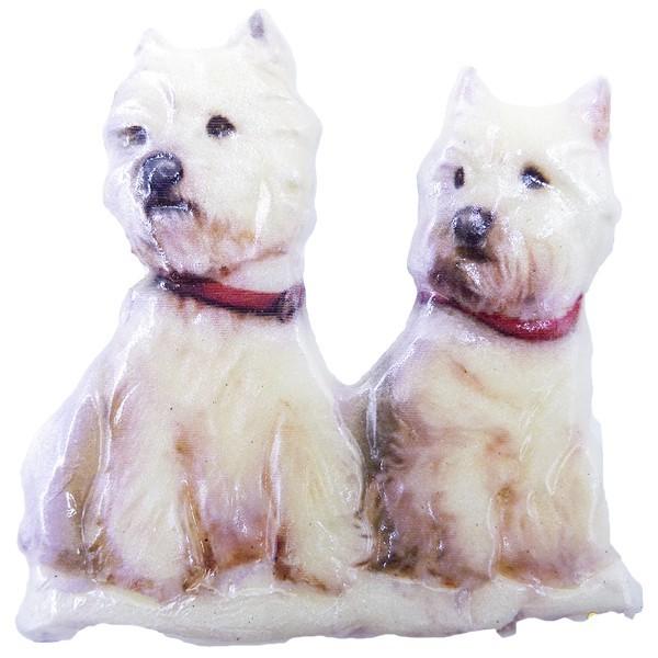 Wachsornament Hunde 10, farbig, geprägt, 7cm