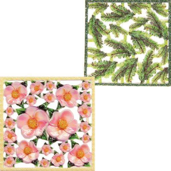Wachsornament-Platten, farbig, Christrose & Tannenzweig, 2er Set