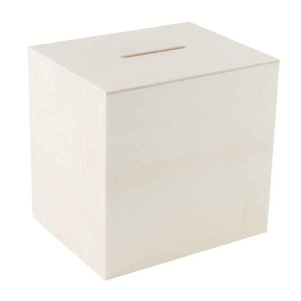 Spardose, Holz, 10,2cm x 9,8cm x 8,2cm, mit Kunststoff-Verschluss auf der Unterseite