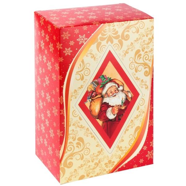 Geschenkbox Kaffee, 18 cm x 11 cm x 7 cm, Weihnachtsmann, rot