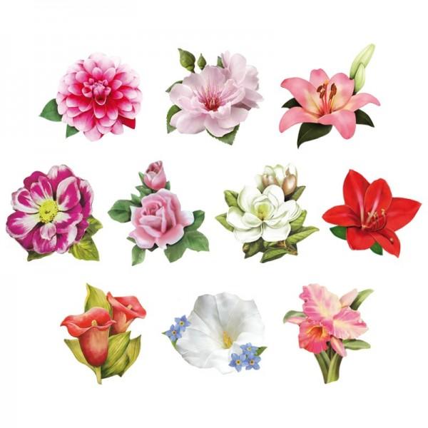 Relief-Bilder, Blüten 2, geprägt, 5,5-7,5 cm, 10er Set