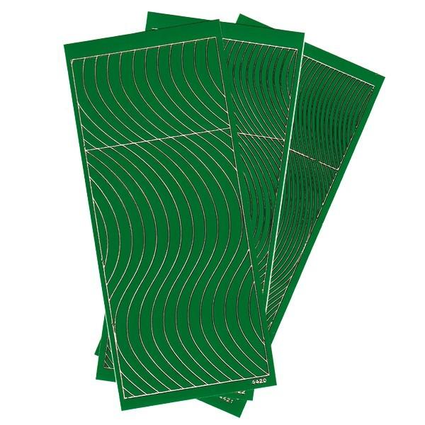 Sticker, Schwung-Linien, 3 Bogen, grün