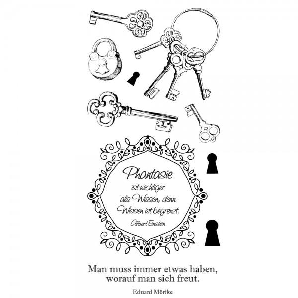 Feinkontur-Stempel, einzelne Motive auf Trägerfolie, Schlüssel & Sprüche